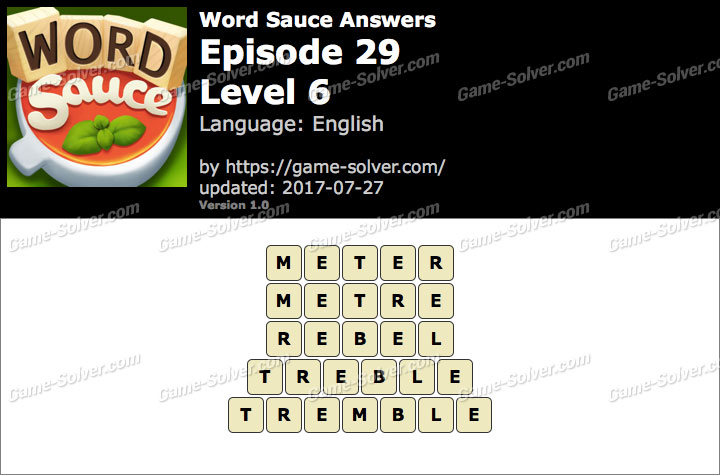 Word Sauce Episode 29-Level 6 Answers