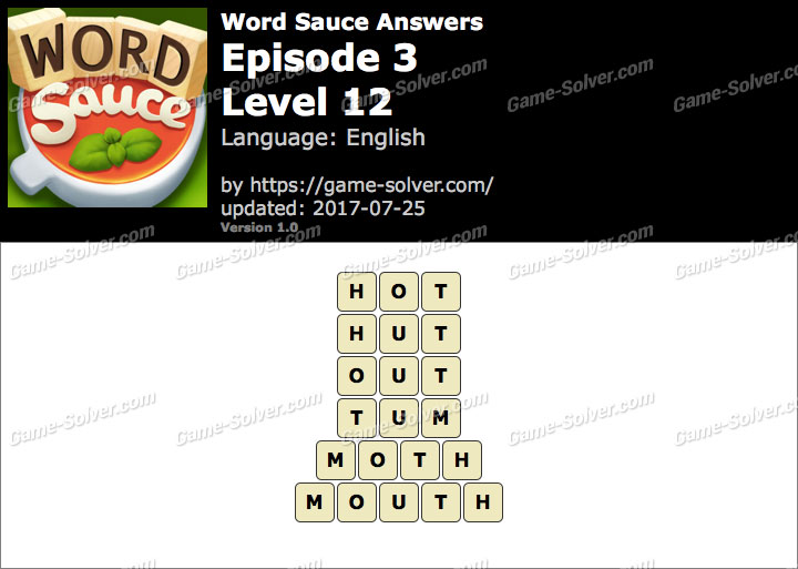 Word Sauce Episode 3-Level 12 Answers