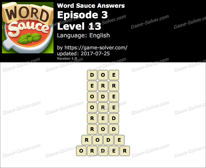 Word Sauce Episode 3-Level 13 Answers