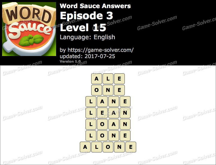 Word Sauce Episode 3-Level 15 Answers