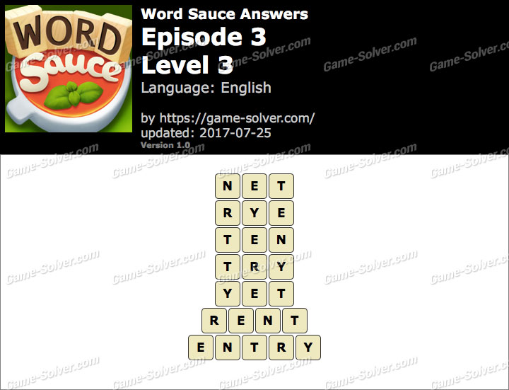 Word Sauce Episode 3-Level 3 Answers