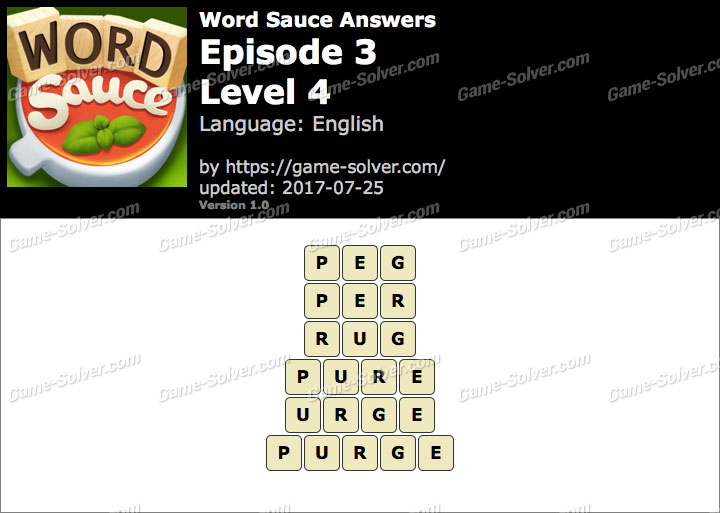 Word Sauce Episode 3-Level 4 Answers