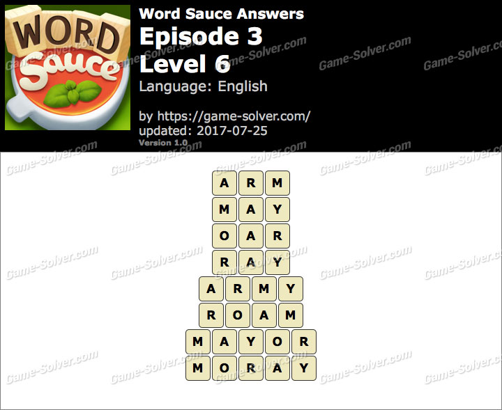 Word Sauce Episode 3-Level 6 Answers