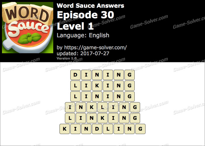 Word Sauce Episode 30-Level 1 Answers