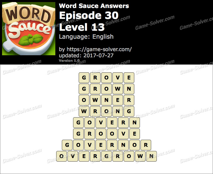 Word Sauce Episode 30-Level 13 Answers
