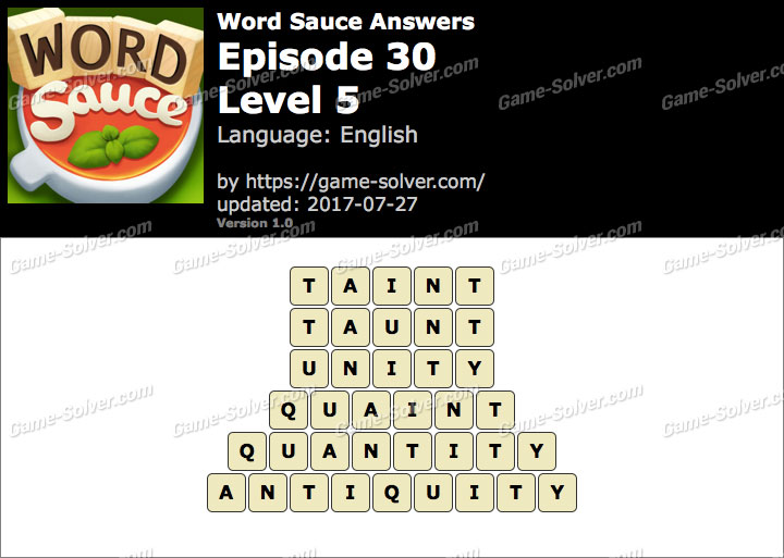 Word Sauce Episode 30-Level 5 Answers