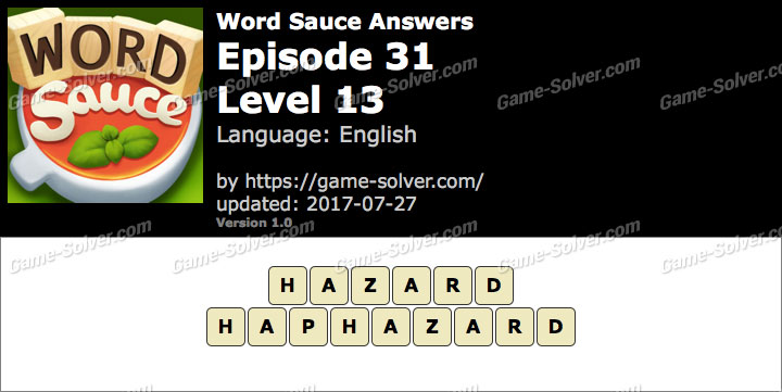 Word Sauce Episode 31-Level 13 Answers