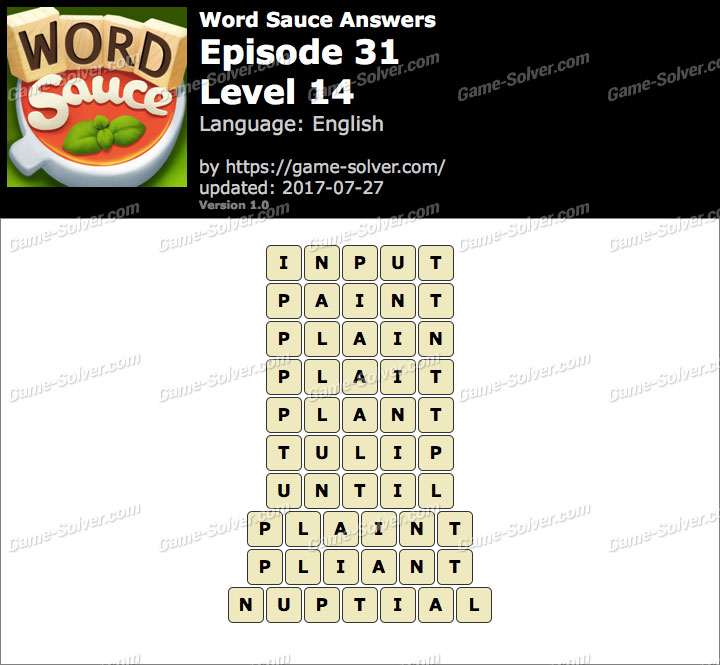 Word Sauce Episode 31-Level 14 Answers