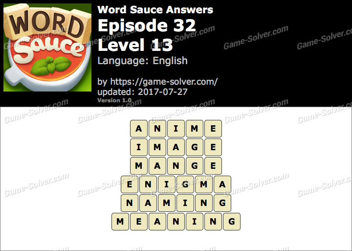 Word Sauce Episode 32-Level 13 Answers