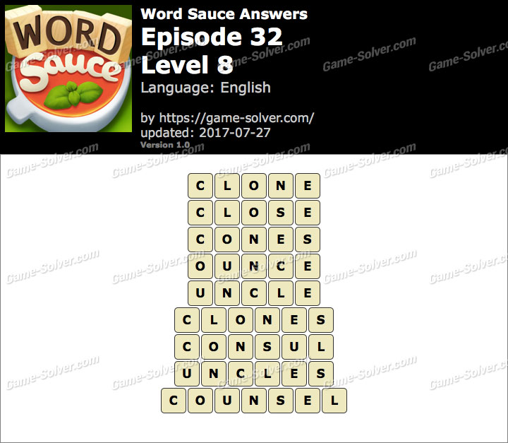 Word Sauce Episode 32-Level 8 Answers