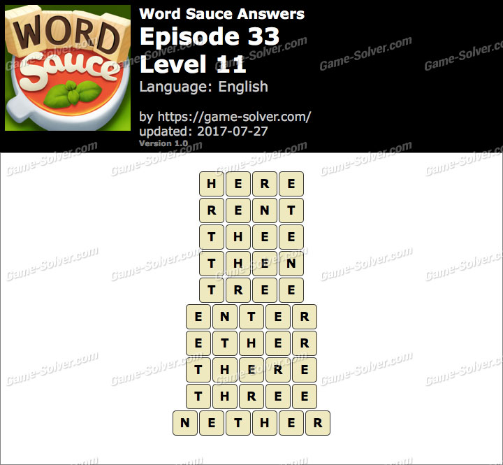 Word Sauce Episode 33-Level 11 Answers