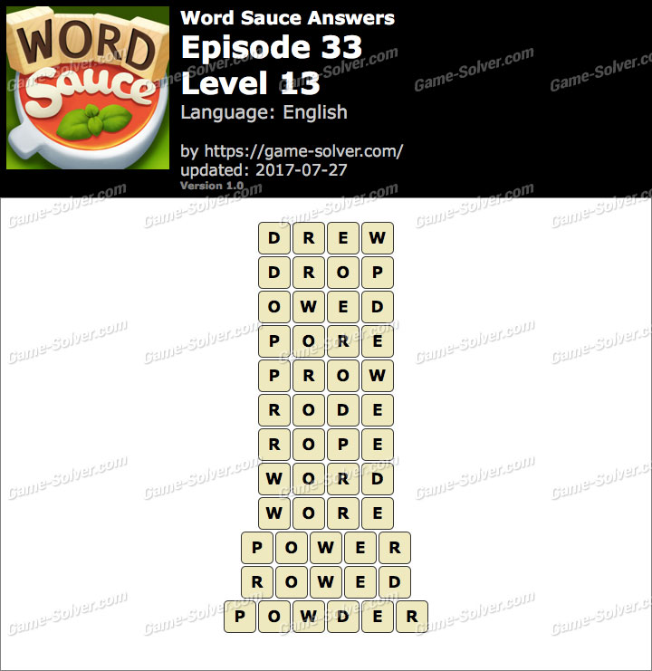 Word Sauce Episode 33-Level 13 Answers