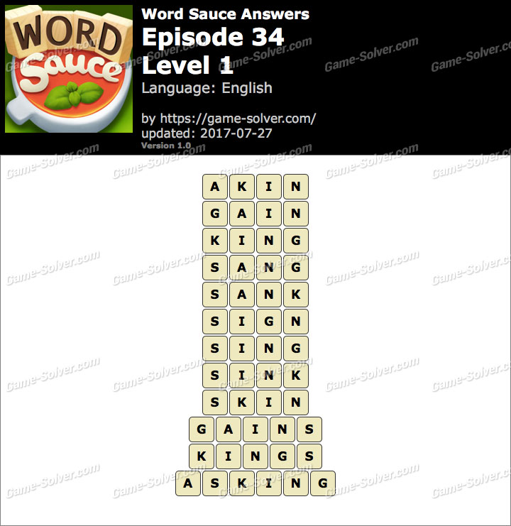 Word Sauce Episode 34-Level 1 Answers