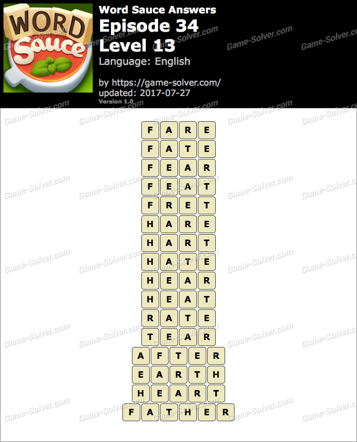 Word Sauce Episode 34-Level 13 Answers