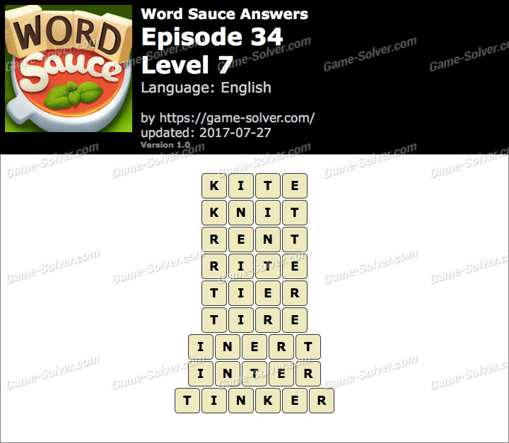 Word Sauce Episode 34-Level 7 Answers