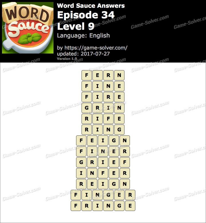 Word Sauce Episode 34-Level 9 Answers
