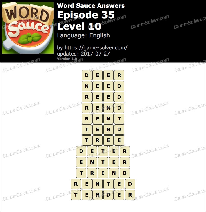 Word Sauce Episode 35-Level 10 Answers
