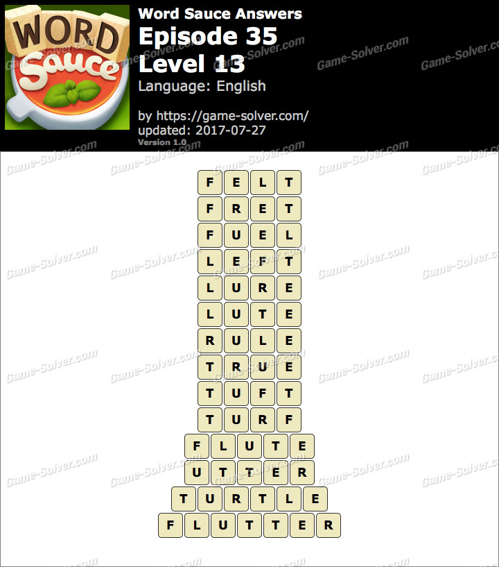 Word Sauce Episode 35-Level 13 Answers