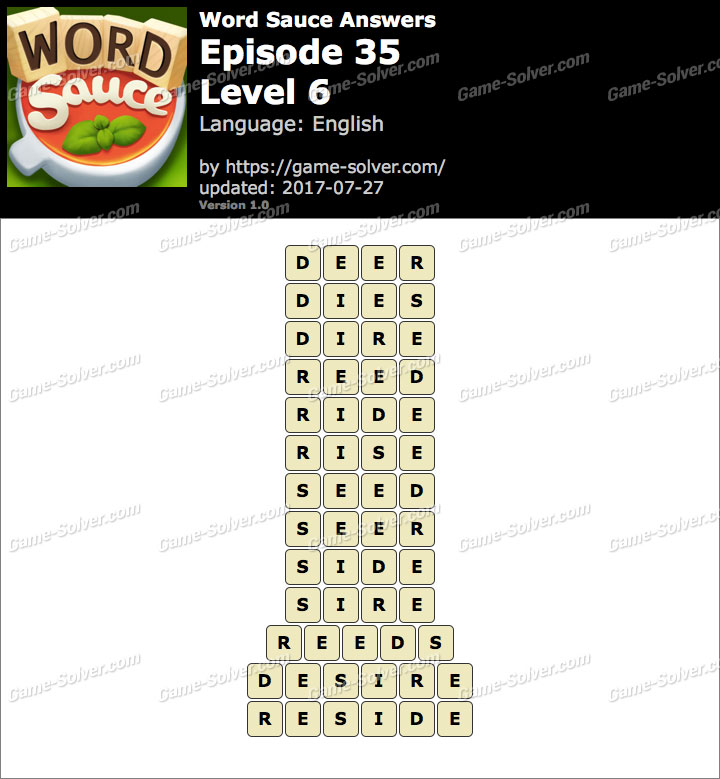 Word Sauce Episode 35-Level 6 Answers