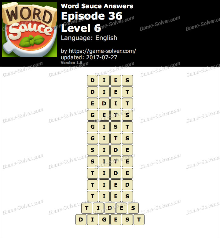 Word Sauce Episode 36-Level 6 Answers