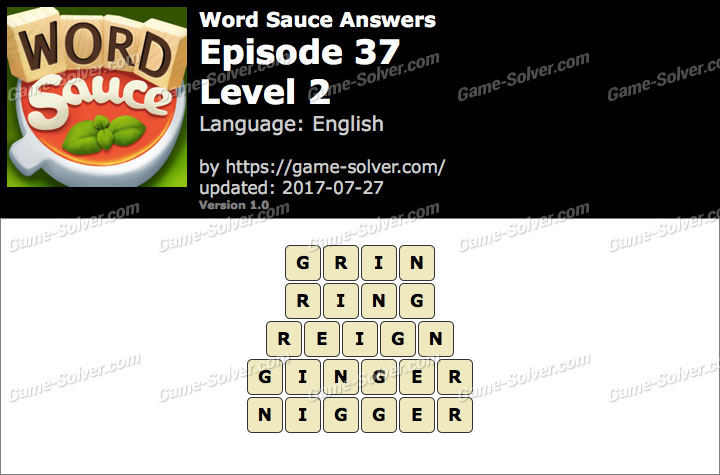 Word Sauce Episode 37-Level 2 Answers