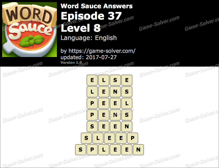 Word Sauce Episode 37-Level 8 Answers