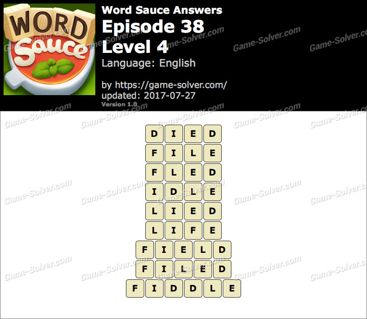 Word Sauce Episode 38-Level 4 Answers