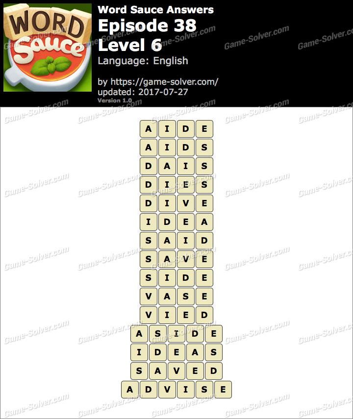 Word Sauce Episode 38-Level 6 Answers