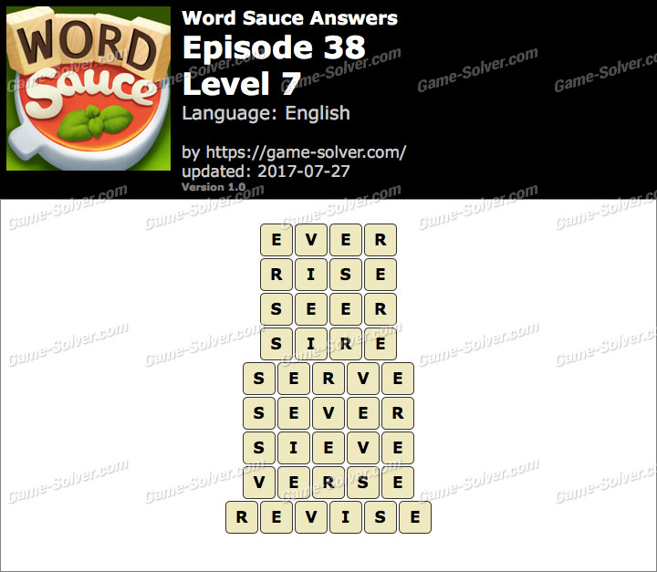Word Sauce Episode 38-Level 7 Answers