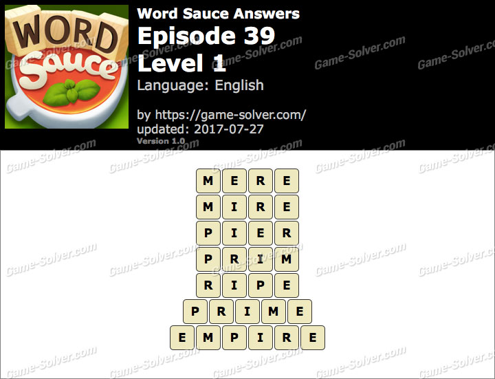 Word Sauce Episode 39-Level 1 Answers