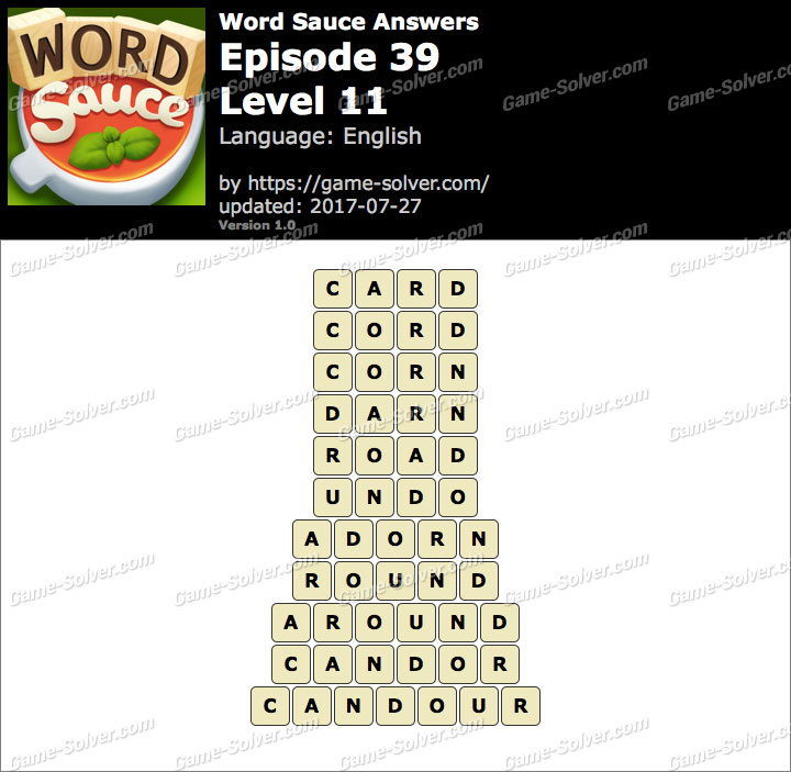 Word Sauce Episode 39-Level 11 Answers