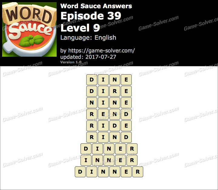 Word Sauce Episode 39-Level 9 Answers