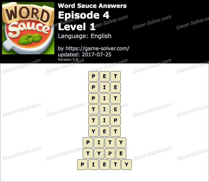 Word Sauce Episode 4-Level 1 Answers