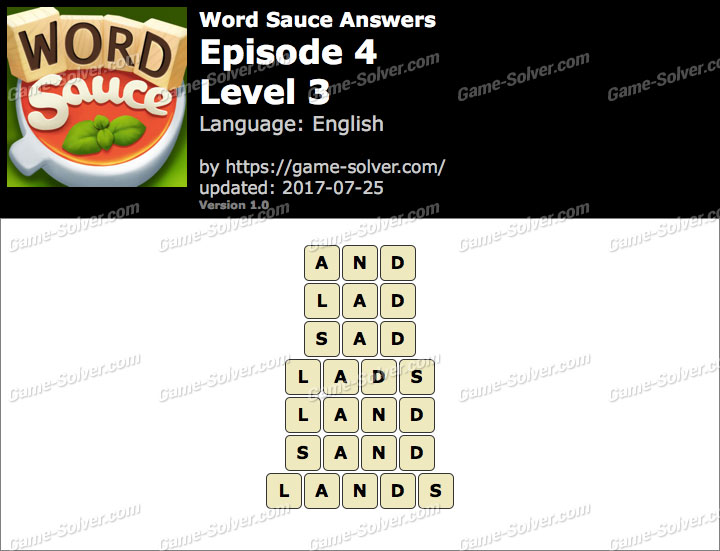 Word Sauce Episode 4-Level 3 Answers