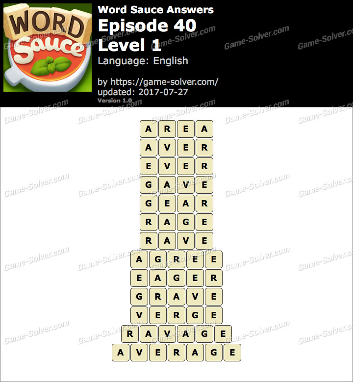 Word Sauce Episode 40-Level 1 Answers