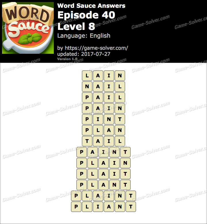 Word Sauce Episode 40-Level 8 Answers