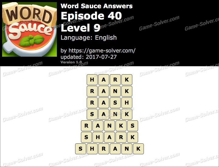 Word Sauce Episode 40-Level 9 Answers