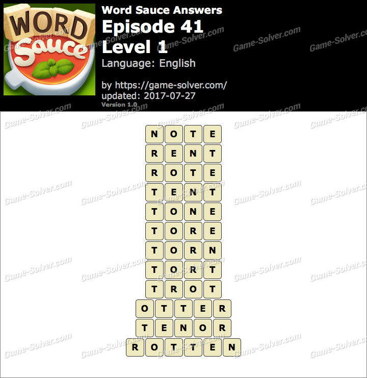 Word Sauce Episode 41-Level 1 Answers