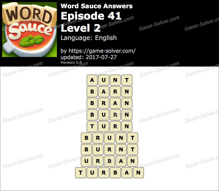 Word Sauce Episode 41-Level 2 Answers