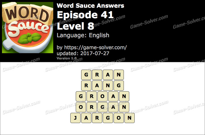 Word Sauce Episode 41-Level 8 Answers