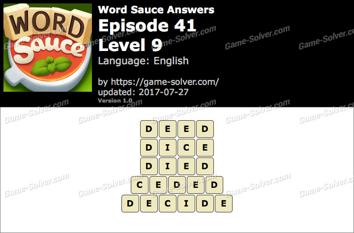 Word Sauce Episode 41-Level 9 Answers