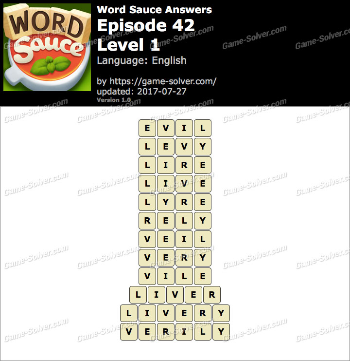 Word Sauce Episode 42-Level 1 Answers