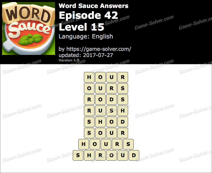 Word Sauce Episode 42-Level 15 Answers