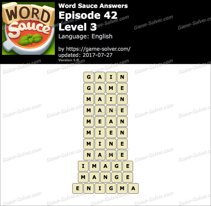 Word Sauce Episode 42-Level 3 Answers