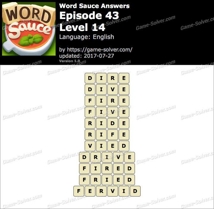 Word Sauce Episode 43-Level 14 Answers