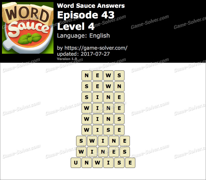 Word Sauce Episode 43-Level 4 Answers