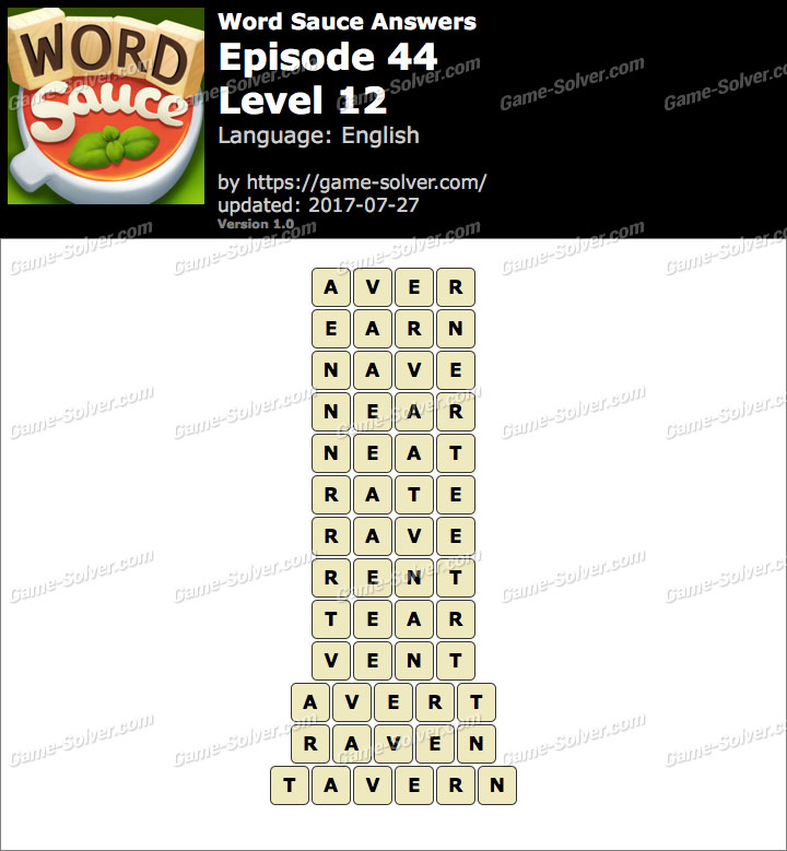Word Sauce Episode 44-Level 12 Answers
