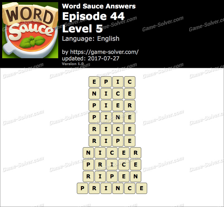 Word Sauce Episode 44-Level 5 Answers