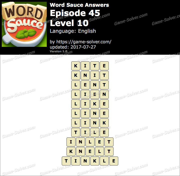 Word Sauce Episode 45-Level 10 Answers