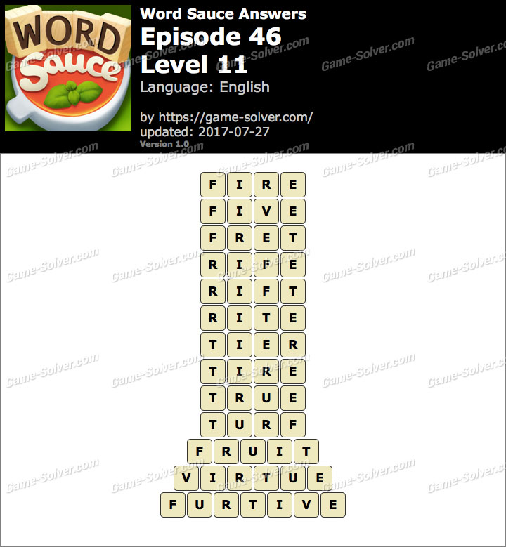 Word Sauce Episode 46-Level 11 Answers